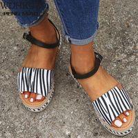2020 senhoras sandálias mulheres plataforma sapatos casuais mulheres tamanho grande 43 moda casual fivela plataforma plataforma sandálias sapatos romanos sapatos de dama de honra bombas sho q91t #