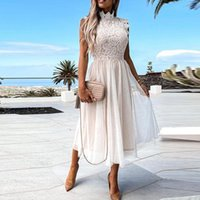 Casual Dresses Summer Lace Mesh Sleeveless Women Midi Dress Patchwork Sexy Party O-neck Female 2021 Elegant Beach Vacation Lady Clothes