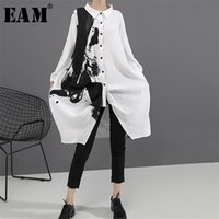[EAM] Women Black White Print Big Size Oversize Dress Lapel Long Sleeve Loose Fit Fashion Spring Autumn 1A923 210915