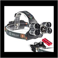 Headlamps And Camping Hiking Sports Outdoors 5 Headlight 8000 Lumens Cree Xml T6 Head Lamp High Power Led Headlamp 2Pcs Battery Charge