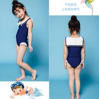 Детская девочка солнцезащитный крем Новый японский и корейский цельный купальник купальник плавание шапка моряка флота стиль