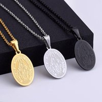 Pendant Necklaces Stainless Steel Oval Virgin Religious Mary Medal Blessed Christian Jewelry For Men And Women