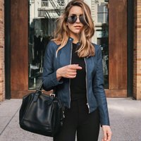 Women's Leather & Faux Ladies Slim Jacket Stand-Up Collar Long Sleeve Overcoat Zipper Cardigan Short Coat Abrigos Mujer Invierno 2021