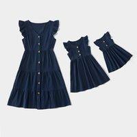 여름 가족 세트 패션 어머니 딸 일치 드레스 엄마와 나 옷 민소매 여성 소녀 유아 엄마 아기 드레스