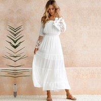 Vestido largo del vestido blanco del hombro del hombro del hombro de verano Ver a través del encaje Sheer Mesh Patchwork Boho Holiday Beach Maxi Vestidos casuales