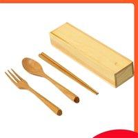 قابلة لإعادة الاستخدام المحمولة أدوات المائدة شوكة خشبية ملعقة عيدان مجموعة مع مربع السكاكين