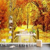 Wallpapers Drop Custom Po Wallpaper Golden Autumn Trees Wooden Bridge Mural Wall Living Room Restaurant Corridors