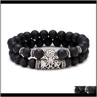 Charm Bracelets Jewelry2Pcs Set Paired Bracelet Men Vintage Wolf Head Braslet For Homme Natural Tiger Eyes Stone Braclet Couple Brazalete Pul