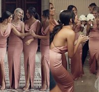 Dusty Pink Sexy Open Back Wedding Guest Party Dress 2021 Spaghetti Straps Eleagant Satin Side Slit Bridesmaid Dresses Floor Length Slim Maid Of Honor Gowns AL8959