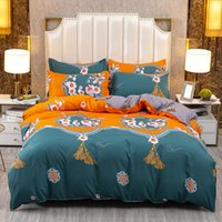 Household Bedding Thickened Frosted Reactive Printed Aloe Cotton Four Piece Set Student Dormitory Sheet Quilt Cover