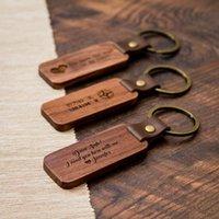 2021 Fashion Straps Souvenir Keychain Laser Engraving Custom Logo Pattern PU Leather Wooden Key Chain Keychains Wholesale