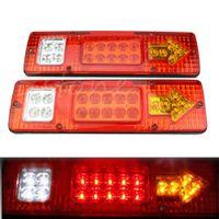 2 unids 12V 19 LED Carro de remolque de coche Camión trasero Luces de la cola Detener Freno Signal Luz Indicador Lámpara Lámpara Tras Light Caravans Bus RV Camper