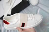 2020 Top Quality ACE Designer G Kids Shoes White Black Sports Stripe Genuine Leather Web Sneaker Luxury Boy Girls Casual Shoes Wkw