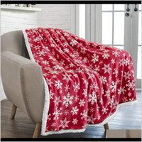 Christmas Plaid Throw Wool Blankets For Beds Double Layer Winter Comfort Cotton Fluffy Plush Blanket Drop 201111 Txbnd Neit3
