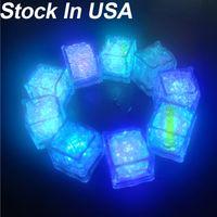(Estoque nos EUA) À Prova D 'Água LED Cubo de Ice 7 Cor Flashing Brilho nas luzes da noite escura para Café Bar Clube Beber Party Wood