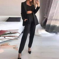 Women's Two Piece Pants Fashion Spring Summer Women Three Sets Elegant Long Sleeve Blazer + Bra +Pocket Outfits Solid Office Lady Suits