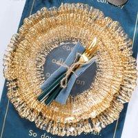 Platos platos a granel de lujo cena de cristal oro borde fruta desayuno sirviendo bandeja boda redondo yemek vajillas originales vajilla zz50zp