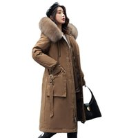Frauen Down Parkas Frauen Winter Warme Baumwolljacke 2021 Elegante Plu Größe Lose Schlund Mantel Mode Liner Dicke Kapuzenpelz Lange Mantel G27