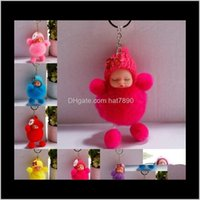 Rings Jewelrysleeping Baby Doll Keychain Pompom Fur Ball Keyrings Car Key Holder Women Bag Pendant Keychains Charm Gift Kimter-H598Q Fz Drop
