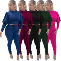 Women's Two Piece Pants Horse-leg Sleeve Top And Pencil Trousers Two-piece Suit Autumn Fashion Long-sleeved Casual