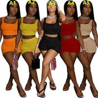 Kadın Eşofman 2021 Yaz Yeni Tasarımcı Moda kadın Moda Seksi Katı Renk U Boyun Kolsuz Yelek Şort Eğlence Spor İki Parçalı Setleri 10 Renkler