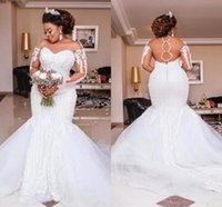 2021 Plus Size Mermaid Wedding Dresses Bridal Gowns Lace Dress Sexy Appliqued Tulle Custom Made Train