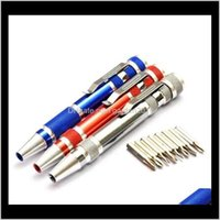 Screwdrivers Hand Tools Home & Garden8 In 1 Precision Magnetic Pen Style Screwdriver Screw Bit Set Slotted Phillips Torx Hex V1Dot5-3Dot5 Re