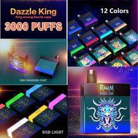 Original Randm Dazzle Rei Descartável Vape E Cigarro 3000 Puffs Dispositivo Descartável Cigarros Eletrônicos 8,0ml POD Fulgor Na Luz RGB Dark 12 Cores Grande Capacidade