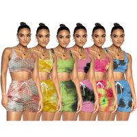 Women summer clothes tie dye yoga tracksuits jogger suits sleeveless tank top+shorts two piece set plus size S-2XL outfits casual sportswear sweatsuits 4890
