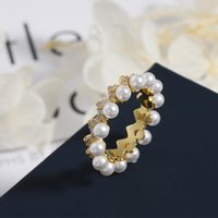 Cluster Rings S925 Sterling Silver Wave Pearl Ring Female French Fashion Golden Yellow Luxury Banquet Personality Simple High-end Jewelry