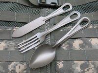 Uvasfish ta2 puro titanum matel 304 acero inoxidable acampar vajilla de cocina Messkit cuchillo tenedor cuchara cucharada militar ejército estilo táctico deportes supervivencia escalada