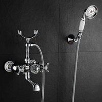 浴室のシンクの蛇口の銅アンティークの二重ハンドルと冷たい水混合浴槽の蛇口とハンドヘルドスプレーブルーホワイト磁器シャワーS