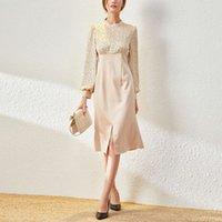 이른 봄 여성의 우아한 라운드 목 랜턴 긴 소매 폴카 도트 스티치 하이 허리 슬림 분할 드레스