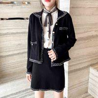 Etek Sonbahar Kış Giysileri Vintage Zarif Kintted 2 Takım Kadın Ceket Ceket Mini Suit Iki Parçalı Kıyafetler Kırpma Üst Conjuntos D28G