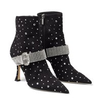 Famous Winter Kaza Black Suede Boot with Crystal-Embellished Strap Women Ankle Boots Lady High Heels Fashion Booty Wedding Dress Party EU35-43