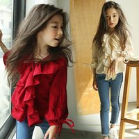 Shirts Kids Girls Autumn Spring Clothes Long-sleeved Red Blouses Cotton Lotus Leaf V-neck Children Clothing Tops