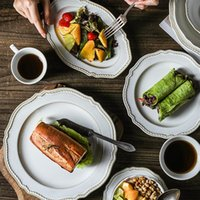 Dishes & Plates Nordic Ceramic Dinner Plate Salad Bowl Long Flavor Dish Coffee Cup Rice Porcelain Dessert Creative