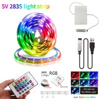 3AA 배터리 5V USB LED 스트립 2835 DC 스트립 라이트 유연한 50cm 1m 2m 3m 5m RGB TV 배경 조명 야간 조명