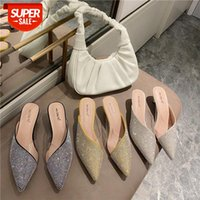 2021 spring new style outer wear fashion rhinestone transparent pointed half slippers female cat with middle heel Baotou sandals and t #8s9K