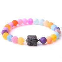 Grânulos de pedra resistidos naturais Bracelets jóias tingidas ágatas gem pulseira frisada para mulheres