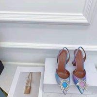Scarpe da sposa Amina Amina Italia Muaddi Begum Pompe Slingback Genuine Pelle Crystal Party Multicolor