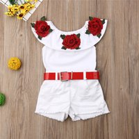Humor Bear Summer Girl Suit New Children'S One-Neck Rose Flower Blouse Ripped White Shorts Suit Baby Kids Clothing Sets 89 B3