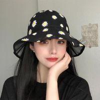 Bretelles larges chapeaux brodé seau brodé pour femmes filles mode douce dentelle fleur transparent gaze Panama Cap d'été plage pêche chapeau soleil
