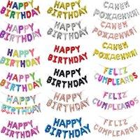 Decoração de festa 13 pcs letras feliz aniversário folha balões de prata ouro crianças letra balões decorações suprimentos