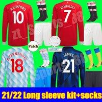Manga comprida Kit adulto Manchester Jersey 2021 2022 United Ronaldo Pogba Sancho Cavani Utd Van De Beek Martial B. Fernandes Rashford Futebol Camisa 21 22 Homem