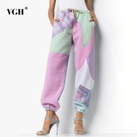 Pantaloni da donna Capris vgh harem per le donne a mezza vita pizzo stampa pizzico colore tasche allentati pantaloni casual femmina 2021 Autunno Abbigliamento marea