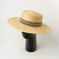 Sombrero Plano de Paja Con Ala Ancha Para Mujer, Sombrero De Playa Estilo Tnico, Kanotier, Vakasiyonlar, Iglesia, Kuntucky, 2020 J0511
