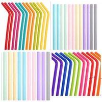 SILICONA PEJILLA DE BEBIDA 24 ESTILOS DE ESTILOS FUERTE PLOTE BEBIDAS Reciclaje de silicones Cóctel Paja Color Color Partido Suministros rectos