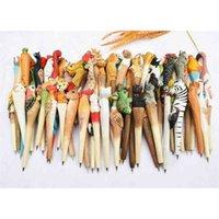 Folk Arte de Madera Animal Talla Punto de Balón Creativo, Pluma de Forma Animal, Plumas de madera, Pluma tallada a mano