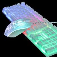 Tastiera di gioco arcobaleno retroilluminato T6 Set del mouse luminoso del tasto del mouse del desktop gioco meccanico della mano meccanica della mano Forpc PS4 PS3 Xbox One Tastiera